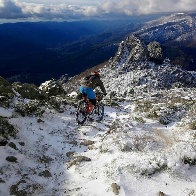 Mountain bike in the snow, Caroux